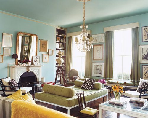 eclectic-room-green-daybed-aqua-walls-yellow-highlights